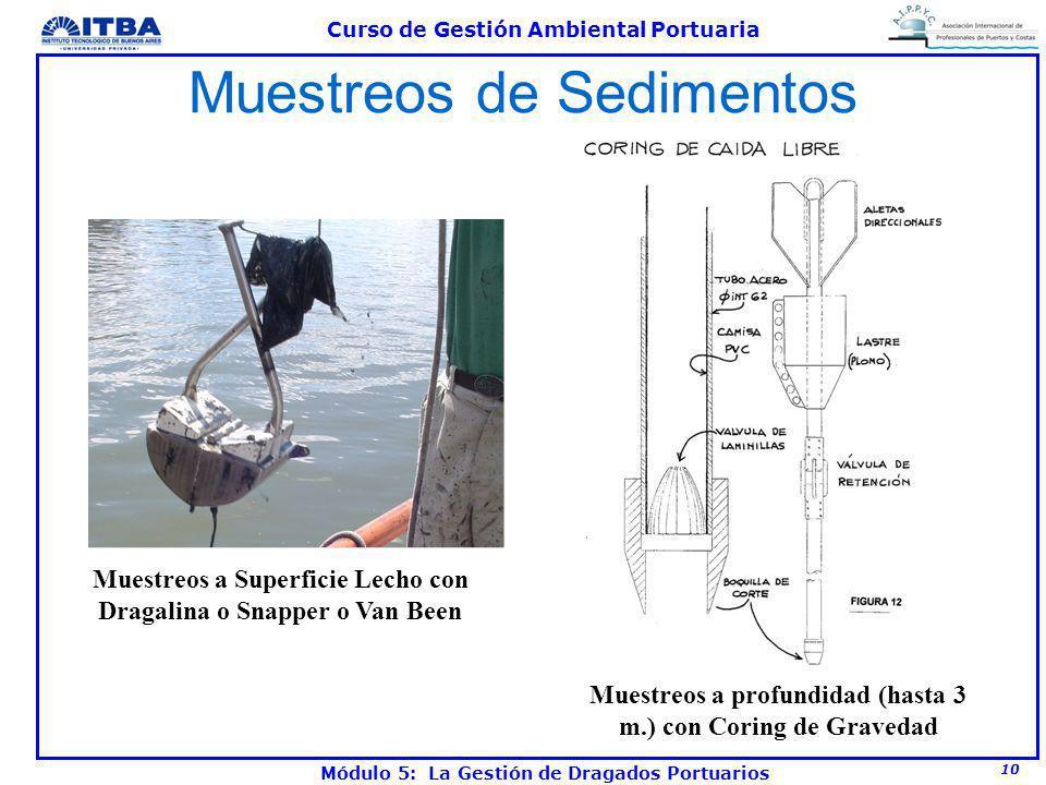 10 Curso de Gestión Ambiental Portuaria Módulo 5: La Gestión de Dragados Portuarios Muestreos de Sedimentos Muestreos a profundidad (hasta 3 m.) con C
