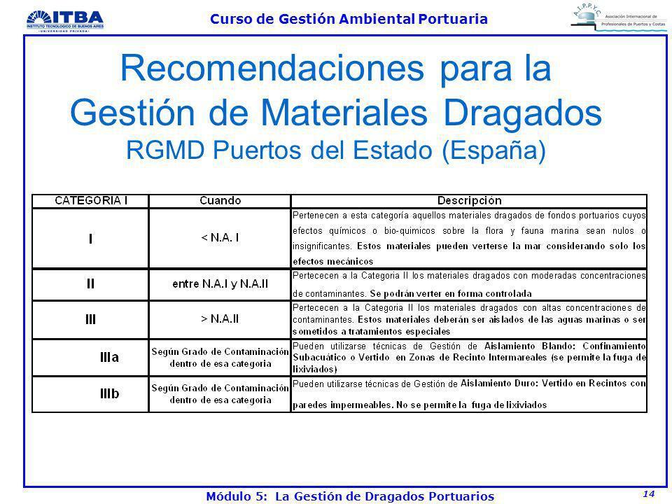 14 Curso de Gestión Ambiental Portuaria Módulo 5: La Gestión de Dragados Portuarios Recomendaciones para la Gestión de Materiales Dragados RGMD Puerto