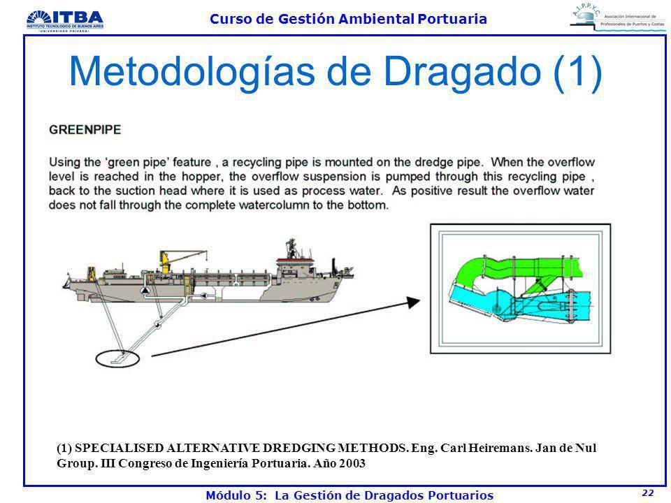 22 Curso de Gestión Ambiental Portuaria Módulo 5: La Gestión de Dragados Portuarios Metodologías de Dragado (1) (1) SPECIALISED ALTERNATIVE DREDGING M