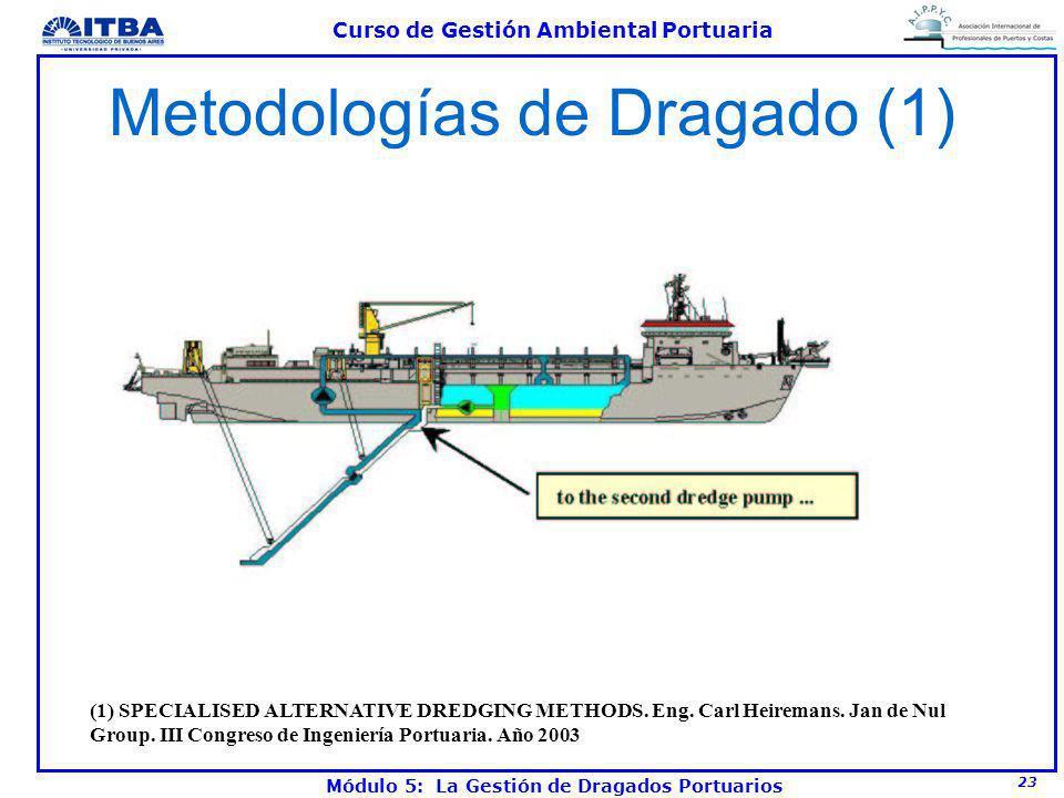 23 Curso de Gestión Ambiental Portuaria Módulo 5: La Gestión de Dragados Portuarios Metodologías de Dragado (1) (1) SPECIALISED ALTERNATIVE DREDGING M
