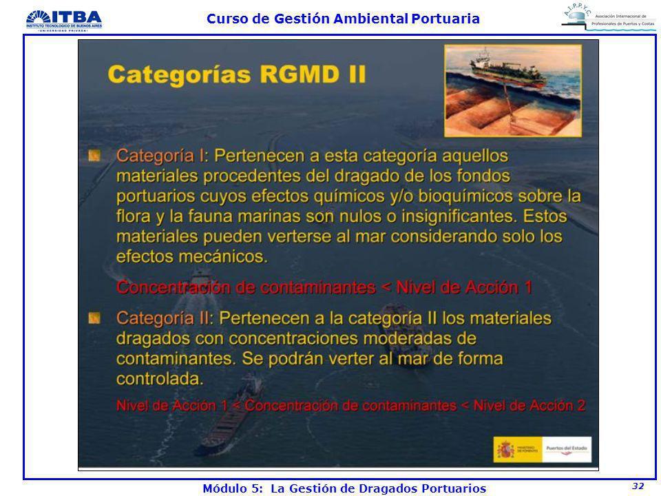 32 Curso de Gestión Ambiental Portuaria Módulo 5: La Gestión de Dragados Portuarios
