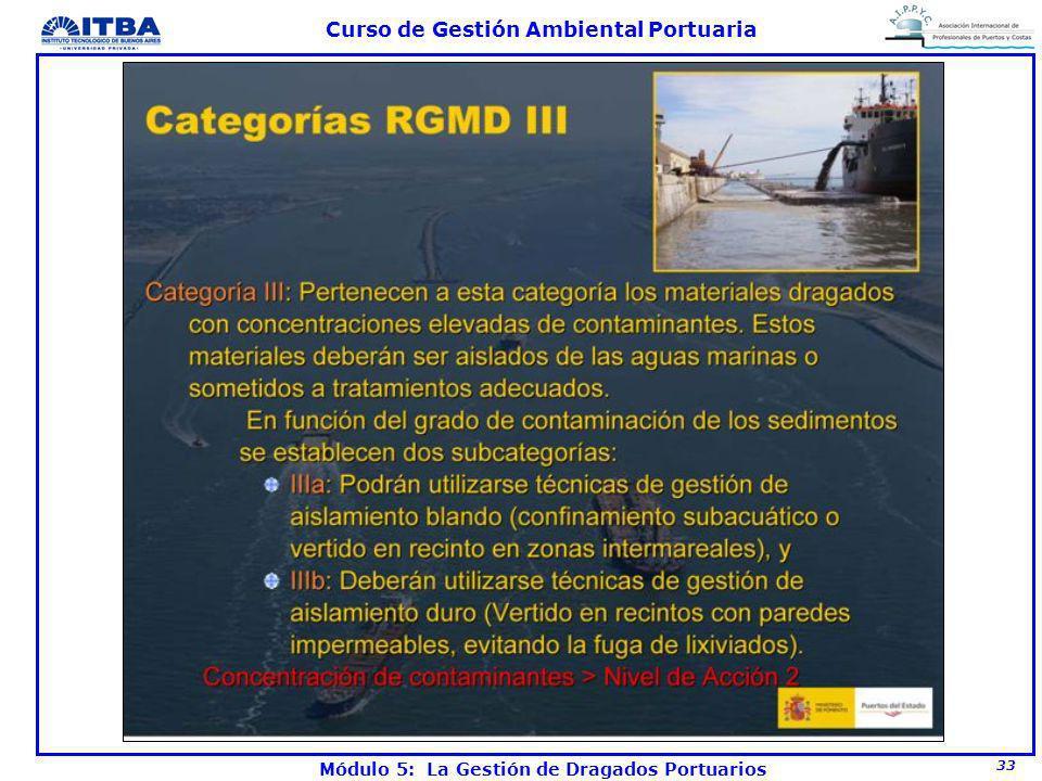 33 Curso de Gestión Ambiental Portuaria Módulo 5: La Gestión de Dragados Portuarios