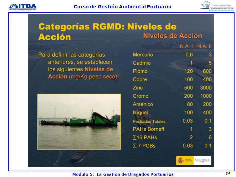 34 Curso de Gestión Ambiental Portuaria Módulo 5: La Gestión de Dragados Portuarios