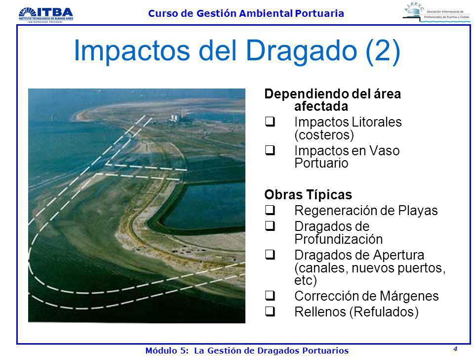 4 Curso de Gestión Ambiental Portuaria Módulo 5: La Gestión de Dragados Portuarios Impactos del Dragado (2) Dependiendo del área afectada Impactos Lit