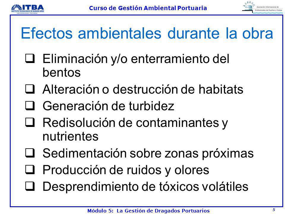 5 Curso de Gestión Ambiental Portuaria Módulo 5: La Gestión de Dragados Portuarios Efectos ambientales durante la obra Eliminación y/o enterramiento d