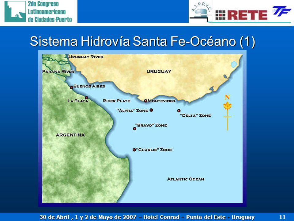 30 de Abril, 1 y 2 de Mayo de 2007 – Hotel Conrad – Punta del Este - Uruguay 11 Sistema Hidrovía Santa Fe-Océano (1)