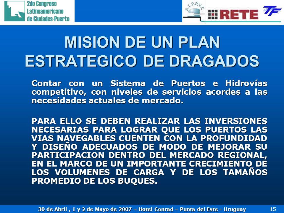 30 de Abril, 1 y 2 de Mayo de 2007 – Hotel Conrad – Punta del Este - Uruguay 15 MISION DE UN PLAN ESTRATEGICO DE DRAGADOS Contar con un Sistema de Pue