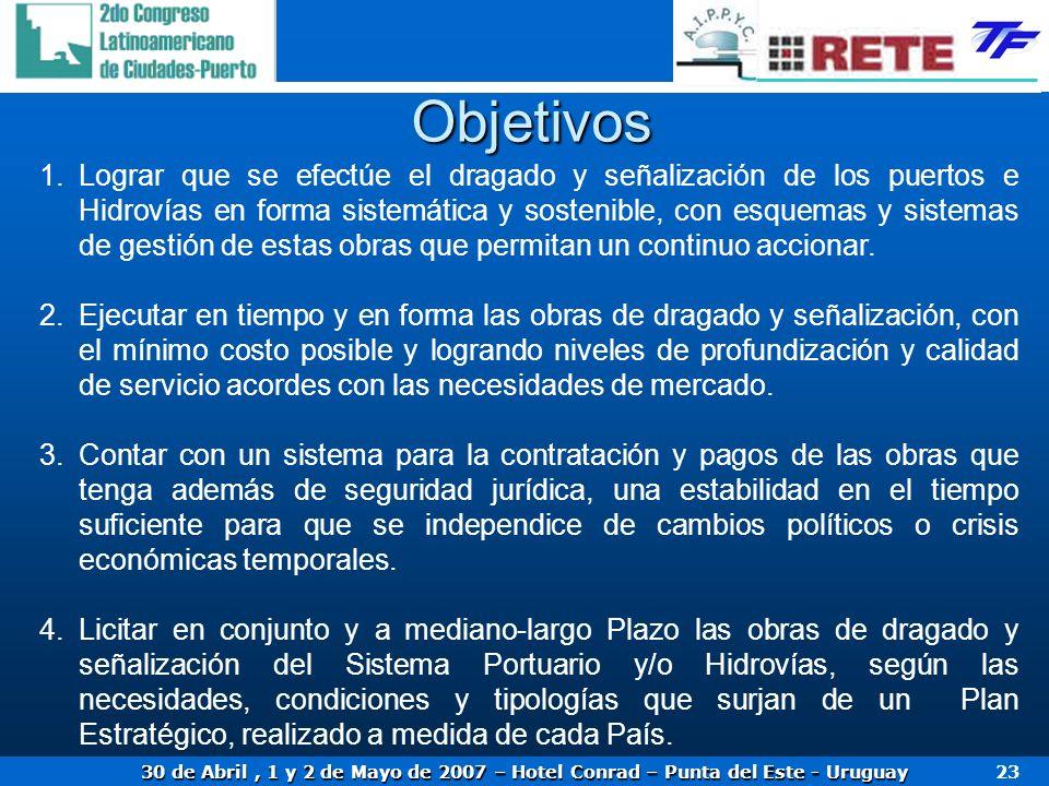 30 de Abril, 1 y 2 de Mayo de 2007 – Hotel Conrad – Punta del Este - Uruguay 23 Objetivos 1.Lograr que se efectúe el dragado y señalización de los pue