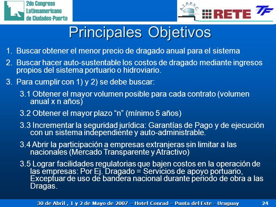30 de Abril, 1 y 2 de Mayo de 2007 – Hotel Conrad – Punta del Este - Uruguay 24 Principales Objetivos 1.Buscar obtener el menor precio de dragado anua