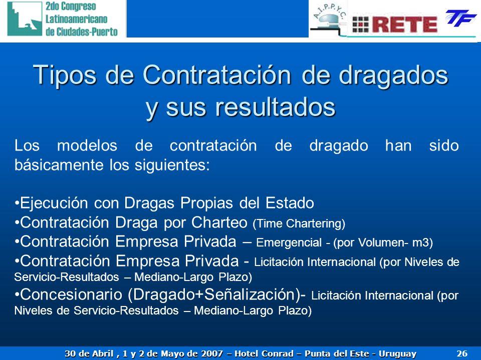 30 de Abril, 1 y 2 de Mayo de 2007 – Hotel Conrad – Punta del Este - Uruguay 26 Tipos de Contratación de dragados y sus resultados Los modelos de cont