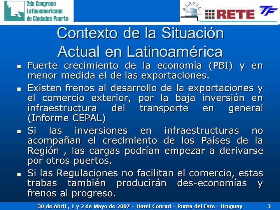 30 de Abril, 1 y 2 de Mayo de 2007 – Hotel Conrad – Punta del Este - Uruguay 3 Contexto de la Situación Actual en Latinoamérica Fuerte crecimiento de