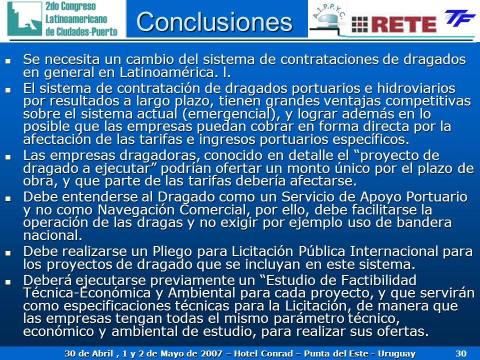 30 de Abril, 1 y 2 de Mayo de 2007 – Hotel Conrad – Punta del Este - Uruguay 30 Conclusiones Se necesita un cambio del sistema de contrataciones de dr