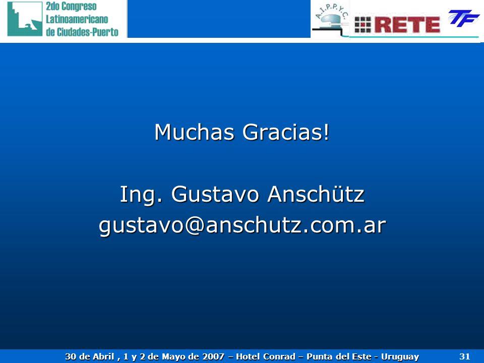 30 de Abril, 1 y 2 de Mayo de 2007 – Hotel Conrad – Punta del Este - Uruguay 31 Muchas Gracias! Ing. Gustavo Anschütz gustavo@anschutz.com.ar