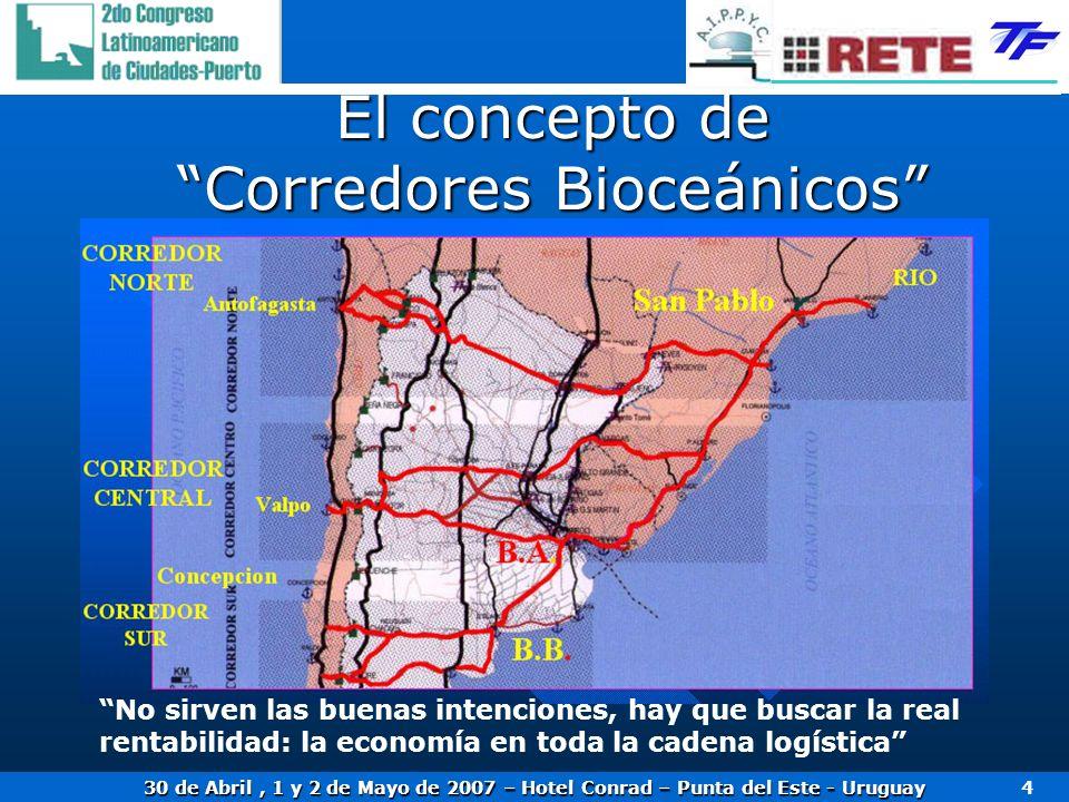 30 de Abril, 1 y 2 de Mayo de 2007 – Hotel Conrad – Punta del Este - Uruguay 4 El concepto de Corredores Bioceánicos No sirven las buenas intenciones,