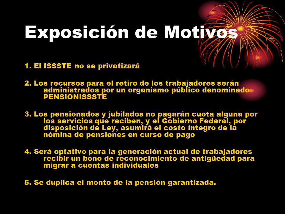 Exposición de Motivos 1. El ISSSTE no se privatizará 2. Los recursos para el retiro de los trabajadores serán administrados por un organismo público d