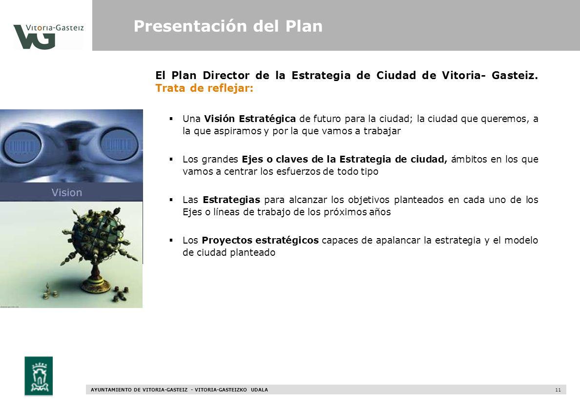 AYUNTAMIENTO DE VITORIA-GASTEIZ - VITORIA-GASTEIZKO UDALA 11 El Plan Director de la Estrategia de Ciudad de Vitoria- Gasteiz. Trata de reflejar: Una V