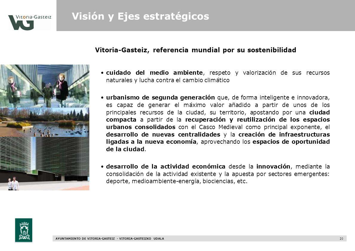AYUNTAMIENTO DE VITORIA-GASTEIZ - VITORIA-GASTEIZKO UDALA 20 Vitoria-Gasteiz, referencia mundial por su sostenibilidad Visión y Ejes estratégicos cuid
