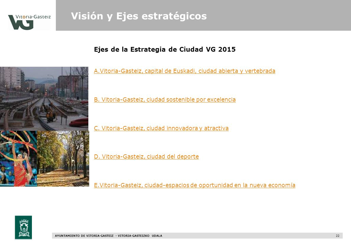 AYUNTAMIENTO DE VITORIA-GASTEIZ - VITORIA-GASTEIZKO UDALA 22 Ejes de la Estrategia de Ciudad VG 2015 Visión y Ejes estratégicos A.Vitoria-Gasteiz, cap