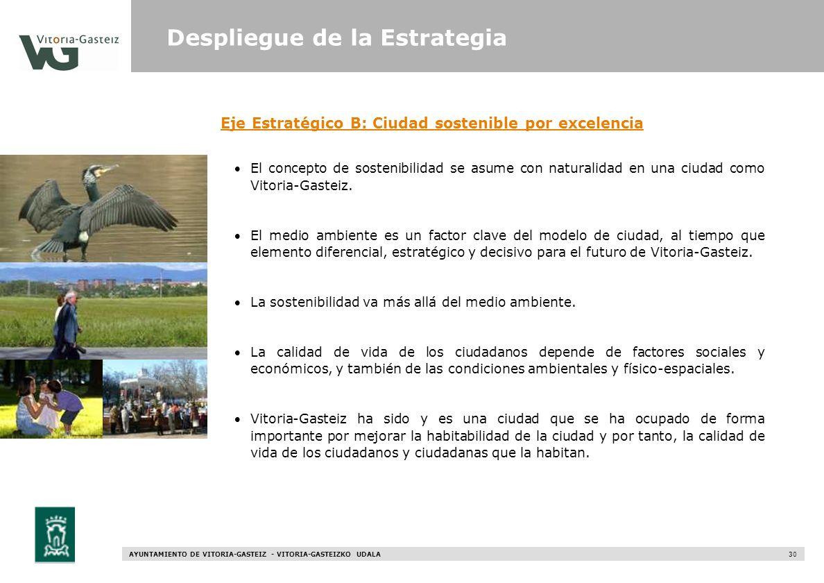 AYUNTAMIENTO DE VITORIA-GASTEIZ - VITORIA-GASTEIZKO UDALA 30 Eje Estratégico B: Ciudad sostenible por excelencia El concepto de sostenibilidad se asum
