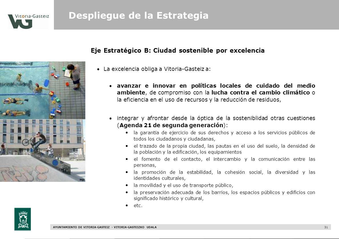AYUNTAMIENTO DE VITORIA-GASTEIZ - VITORIA-GASTEIZKO UDALA 31 Eje Estratégico B: Ciudad sostenible por excelencia La excelencia obliga a Vitoria-Gastei