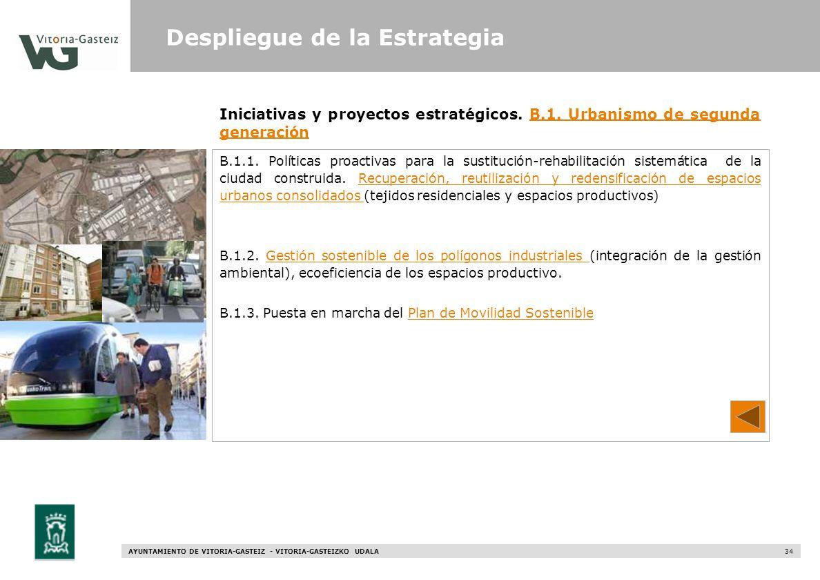 AYUNTAMIENTO DE VITORIA-GASTEIZ - VITORIA-GASTEIZKO UDALA 34 Iniciativas y proyectos estratégicos. B.1. Urbanismo de segunda generaciónB.1. Urbanismo
