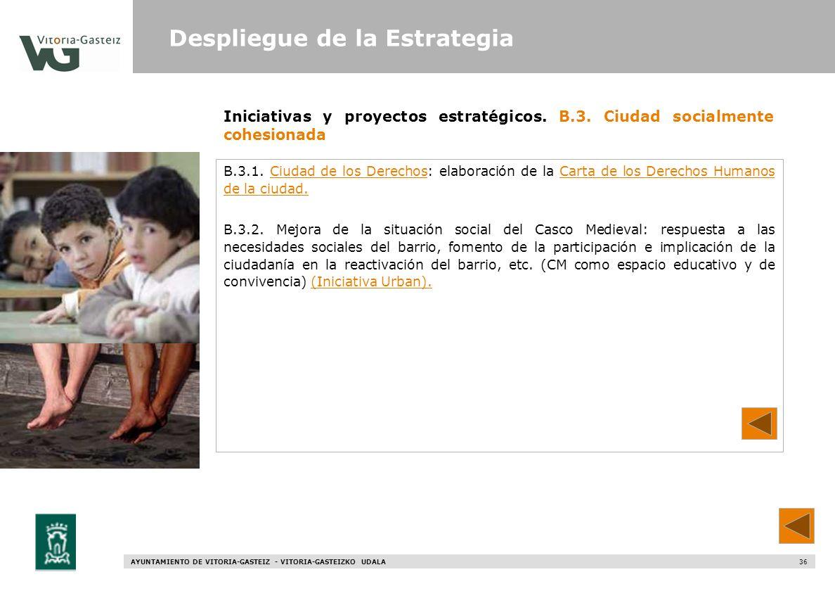 AYUNTAMIENTO DE VITORIA-GASTEIZ - VITORIA-GASTEIZKO UDALA 36 Iniciativas y proyectos estratégicos. B.3. Ciudad socialmente cohesionada B.3.1. Ciudad d