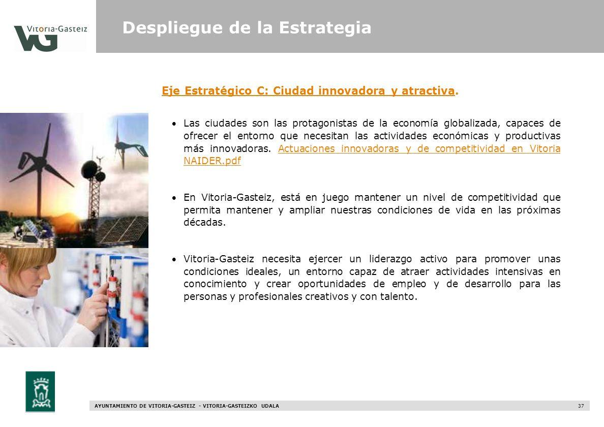 AYUNTAMIENTO DE VITORIA-GASTEIZ - VITORIA-GASTEIZKO UDALA 37 Eje Estratégico C: Ciudad innovadora y atractivaEje Estratégico C: Ciudad innovadora y at