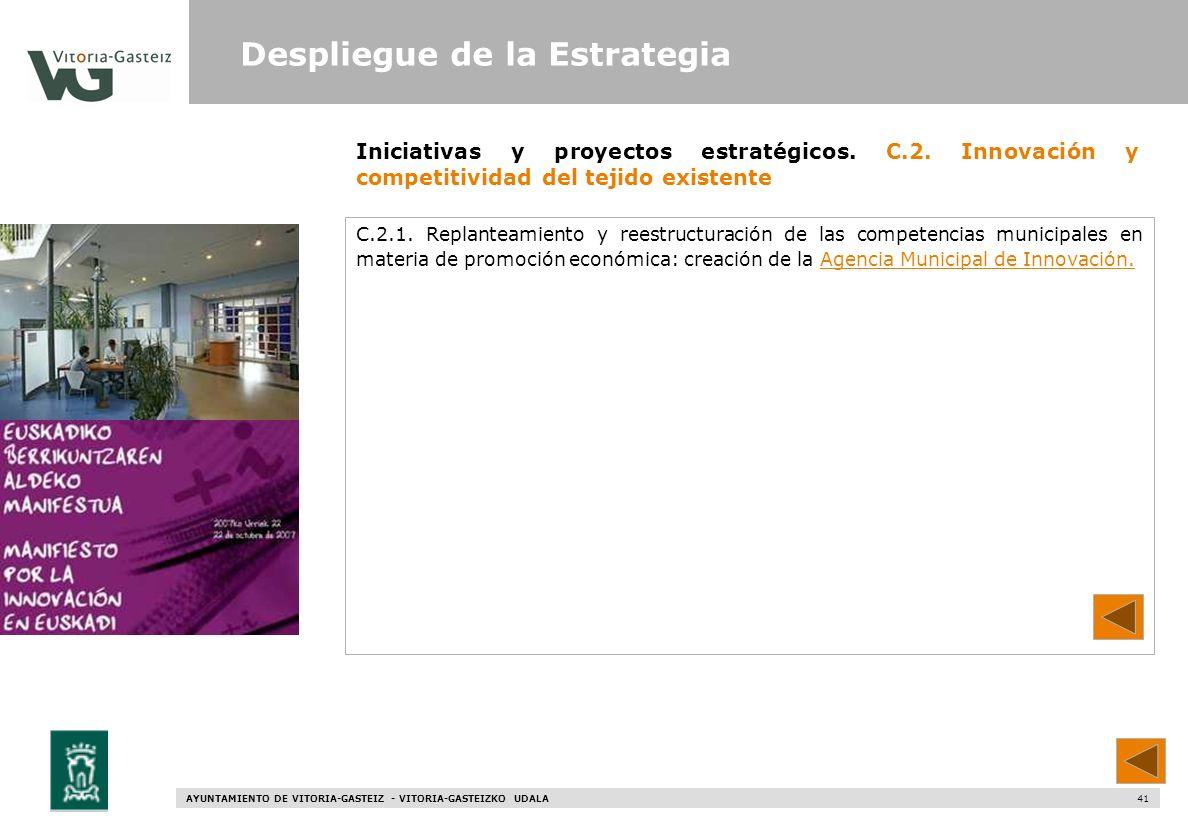 AYUNTAMIENTO DE VITORIA-GASTEIZ - VITORIA-GASTEIZKO UDALA 41 Iniciativas y proyectos estratégicos. C.2. Innovación y competitividad del tejido existen