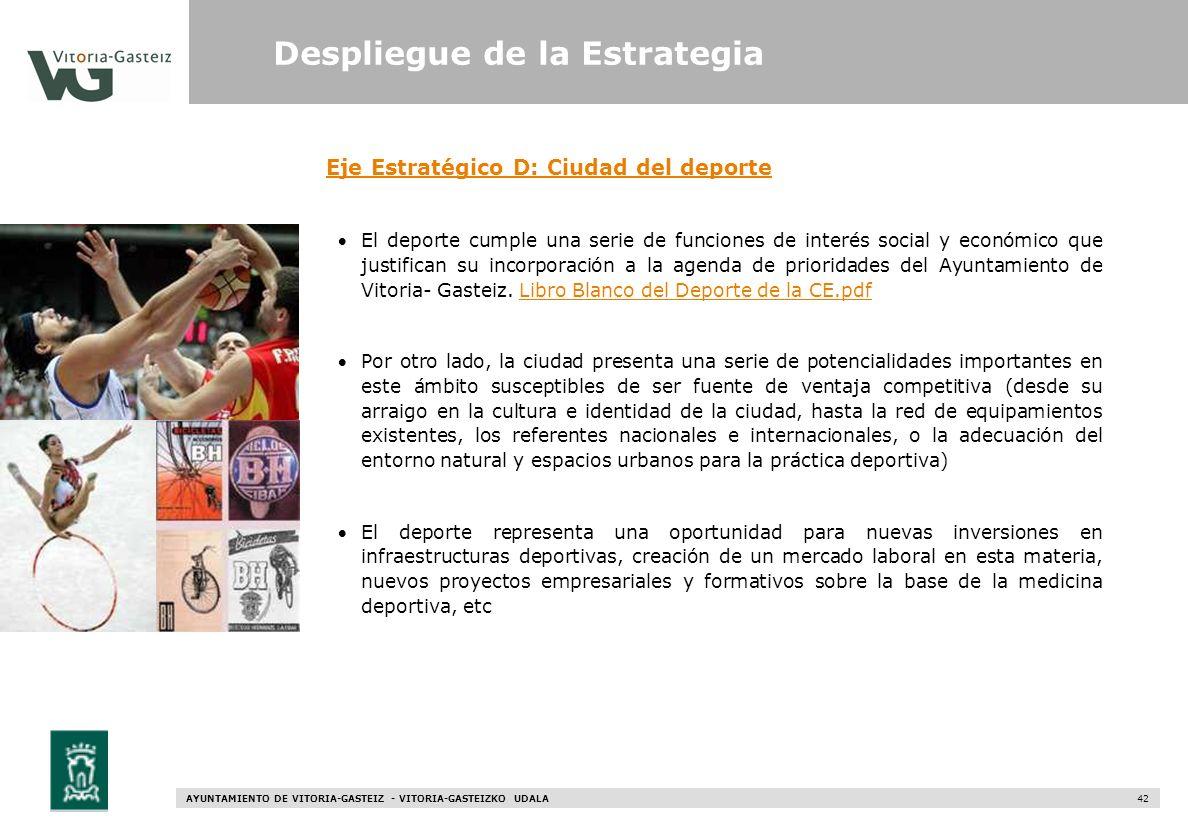 AYUNTAMIENTO DE VITORIA-GASTEIZ - VITORIA-GASTEIZKO UDALA 42 Eje Estratégico D: Ciudad del deporte El deporte cumple una serie de funciones de interés