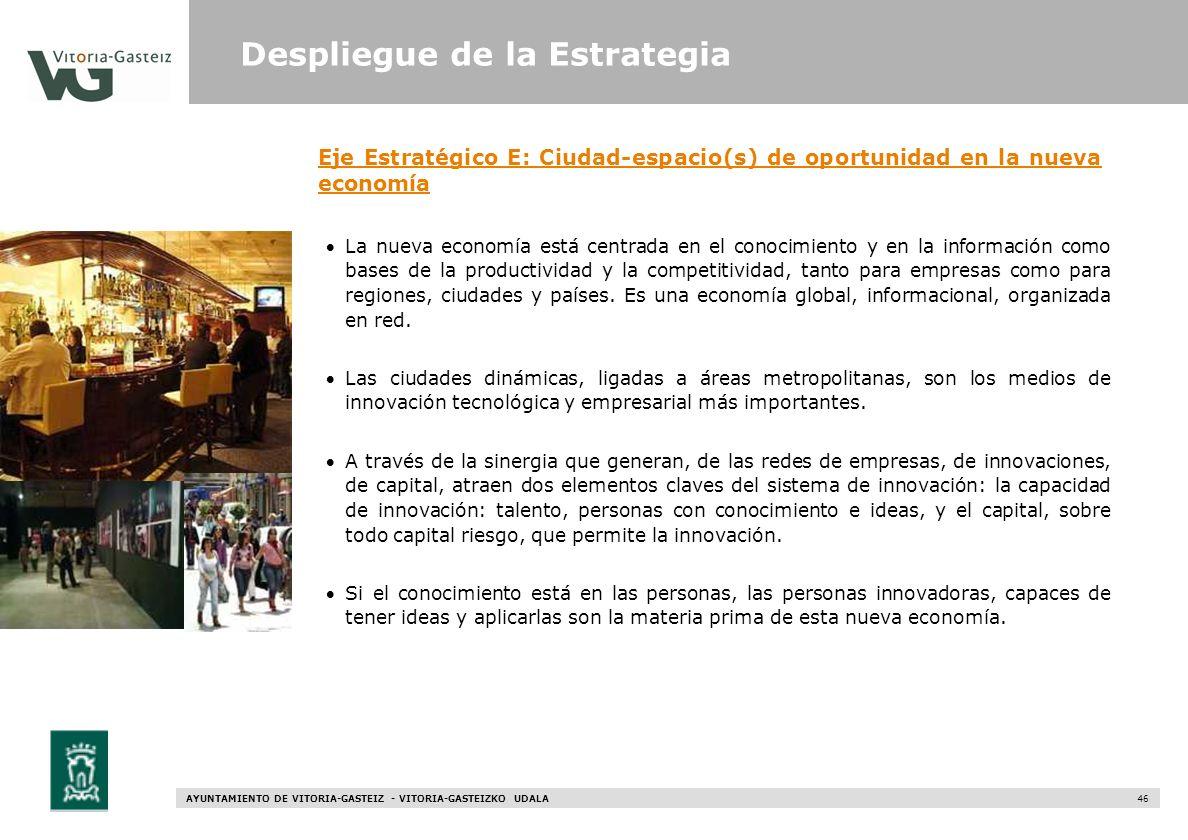 AYUNTAMIENTO DE VITORIA-GASTEIZ - VITORIA-GASTEIZKO UDALA 46 Eje Estratégico E: Ciudad-espacio(s) de oportunidad en la nueva economía La nueva economí