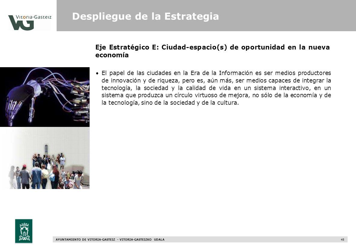 AYUNTAMIENTO DE VITORIA-GASTEIZ - VITORIA-GASTEIZKO UDALA 48 Eje Estratégico E: Ciudad-espacio(s) de oportunidad en la nueva economía El papel de las
