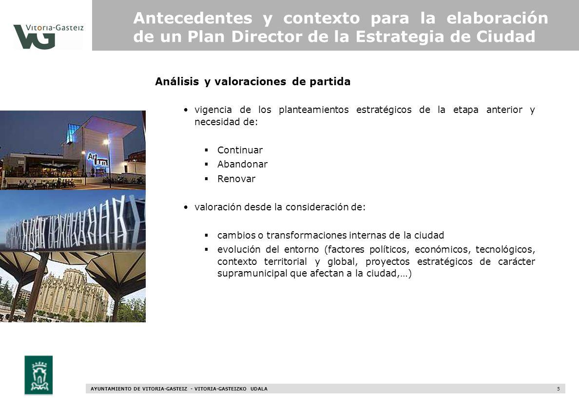 AYUNTAMIENTO DE VITORIA-GASTEIZ - VITORIA-GASTEIZKO UDALA 5 Análisis y valoraciones de partida Antecedentes y contexto para la elaboración de un Plan