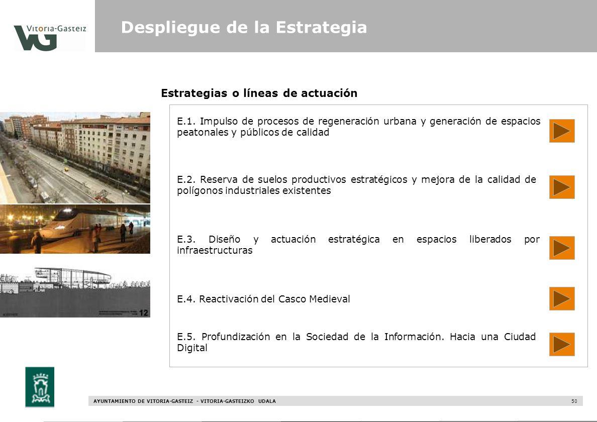 AYUNTAMIENTO DE VITORIA-GASTEIZ - VITORIA-GASTEIZKO UDALA 50 Estrategias o líneas de actuación E.1. Impulso de procesos de regeneración urbana y gener