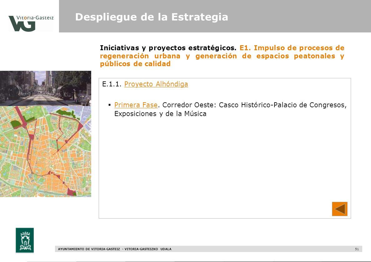 AYUNTAMIENTO DE VITORIA-GASTEIZ - VITORIA-GASTEIZKO UDALA 51 Iniciativas y proyectos estratégicos. E1. Impulso de procesos de regeneración urbana y ge