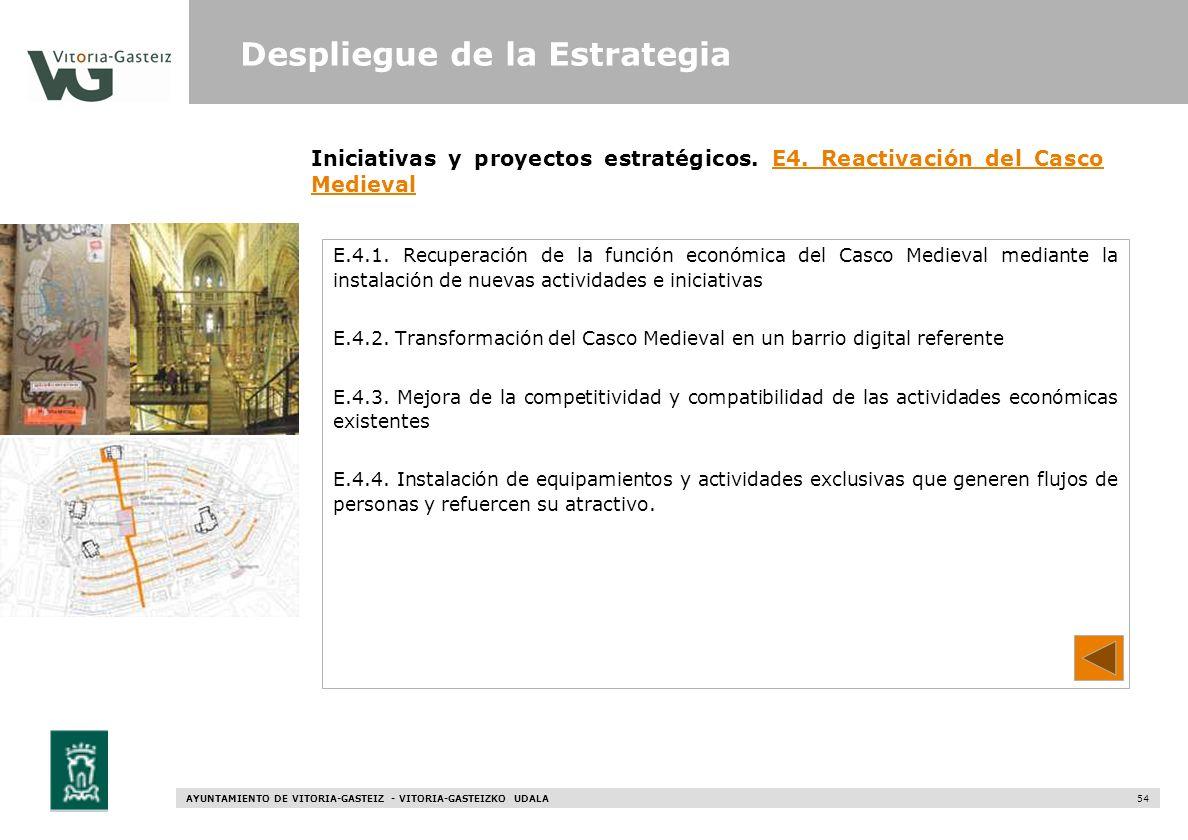 AYUNTAMIENTO DE VITORIA-GASTEIZ - VITORIA-GASTEIZKO UDALA 54 E.4.1. Recuperación de la función económica del Casco Medieval mediante la instalación de