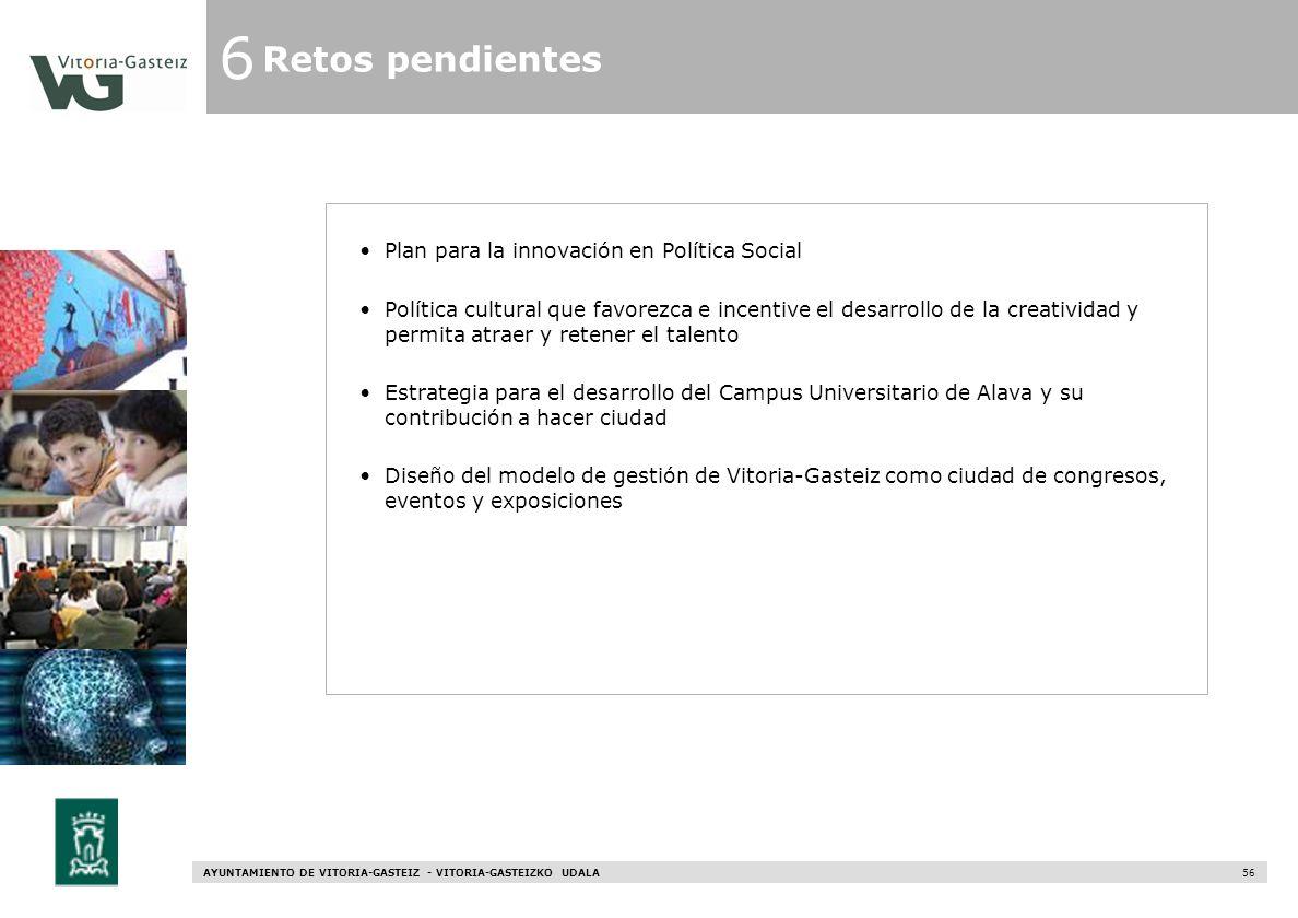 AYUNTAMIENTO DE VITORIA-GASTEIZ - VITORIA-GASTEIZKO UDALA 56 6 Retos pendientes Plan para la innovación en Política Social Política cultural que favor