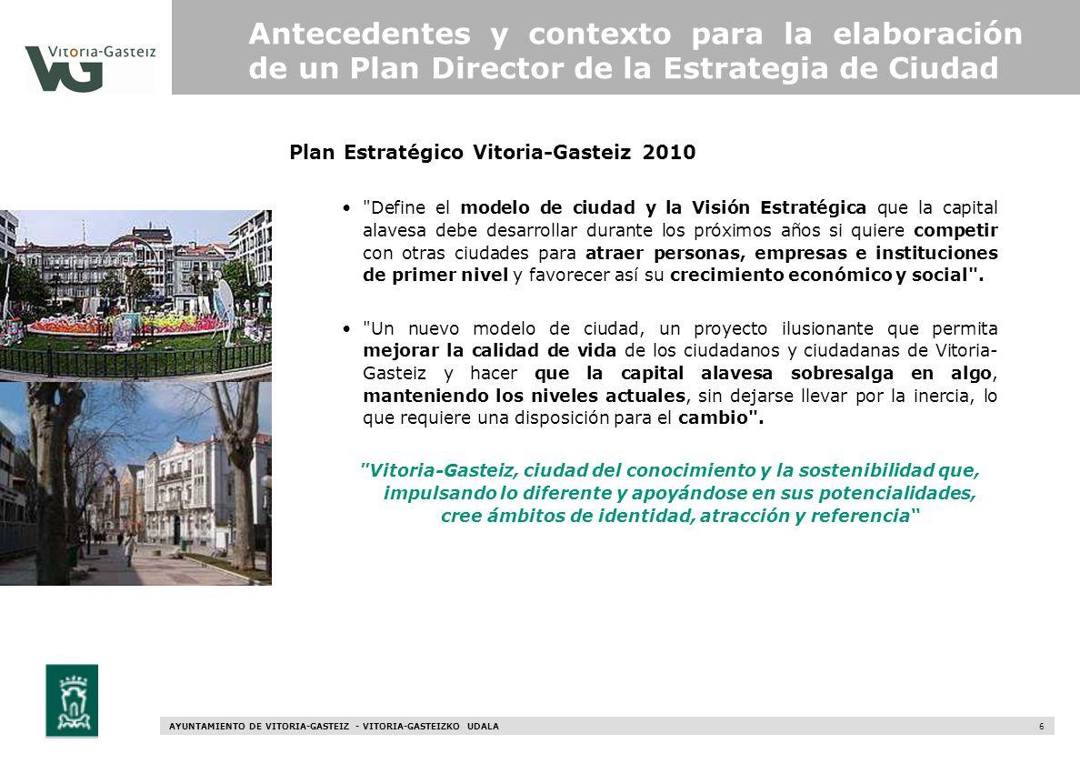 AYUNTAMIENTO DE VITORIA-GASTEIZ - VITORIA-GASTEIZKO UDALA 6 Plan Estratégico Vitoria-Gasteiz 2010 Antecedentes y contexto para la elaboración de un Pl