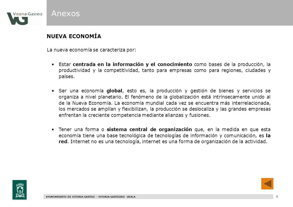 AYUNTAMIENTO DE VITORIA-GASTEIZ - VITORIA-GASTEIZKO UDALA 65 NUEVA ECONOMÍA Anexos La nueva economía se caracteriza por: Estar centrada en la informac