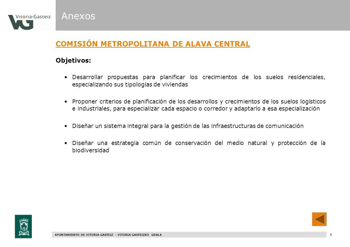 AYUNTAMIENTO DE VITORIA-GASTEIZ - VITORIA-GASTEIZKO UDALA 66 COMISIÓN METROPOLITANA DE ALAVA CENTRAL Objetivos: Desarrollar propuestas para planificar