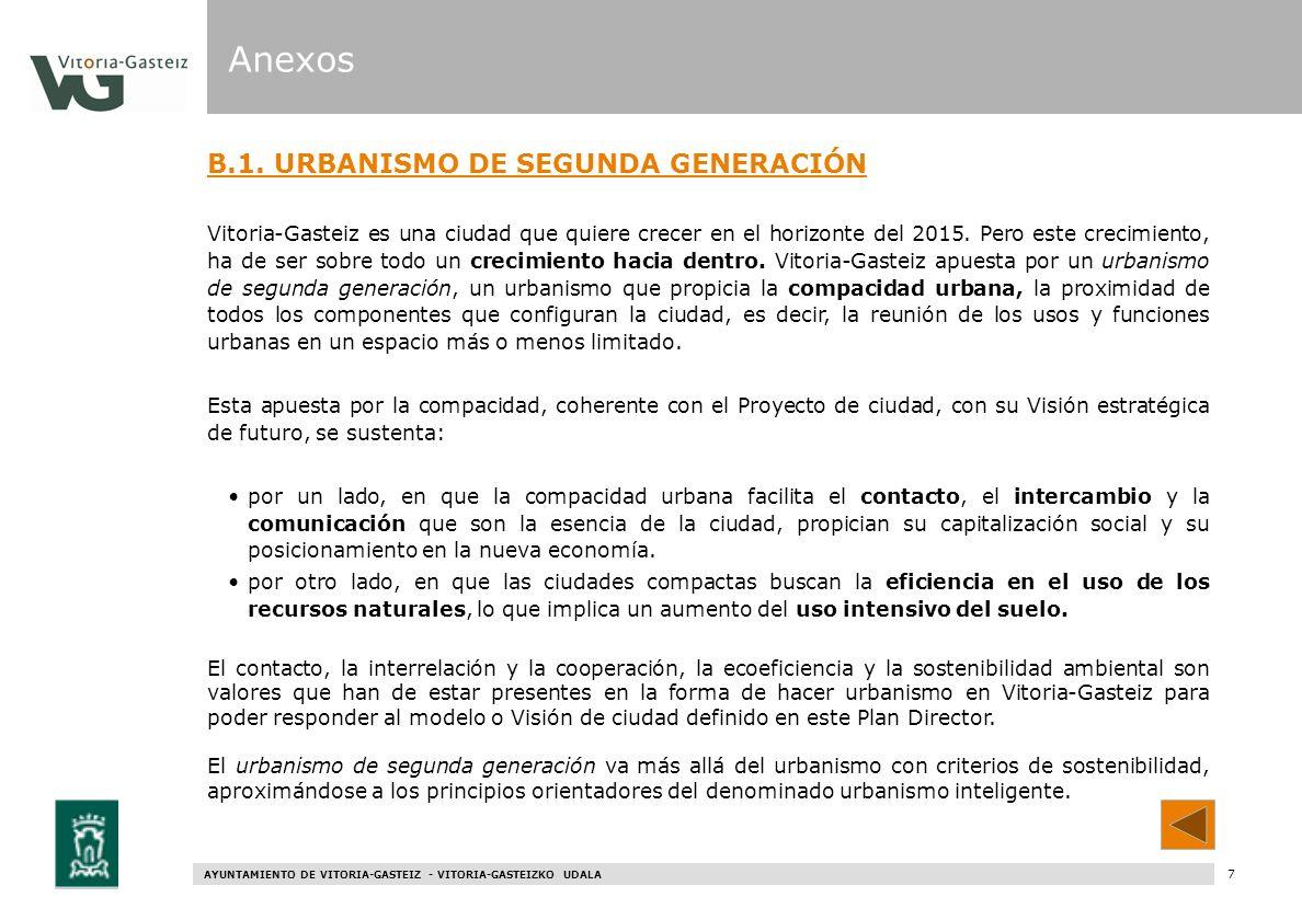 AYUNTAMIENTO DE VITORIA-GASTEIZ - VITORIA-GASTEIZKO UDALA 67 B.1. URBANISMO DE SEGUNDA GENERACIÓN Vitoria-Gasteiz es una ciudad que quiere crecer en e