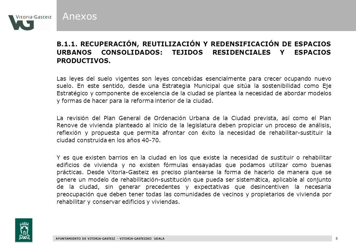 AYUNTAMIENTO DE VITORIA-GASTEIZ - VITORIA-GASTEIZKO UDALA 68 B.1.1. RECUPERACIÓN, REUTILIZACIÓN Y REDENSIFICACIÓN DE ESPACIOS URBANOS CONSOLIDADOS: TE