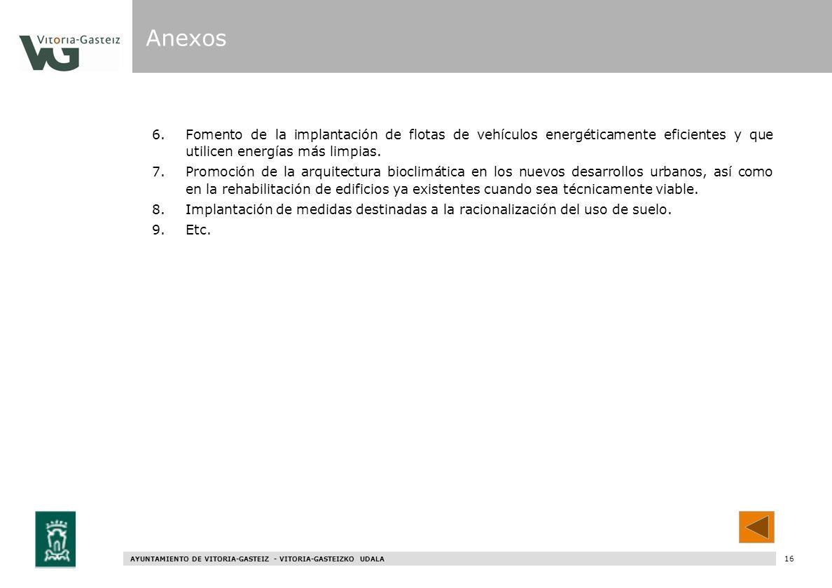 AYUNTAMIENTO DE VITORIA-GASTEIZ - VITORIA-GASTEIZKO UDALA 76 6.Fomento de la implantación de flotas de vehículos energéticamente eficientes y que util