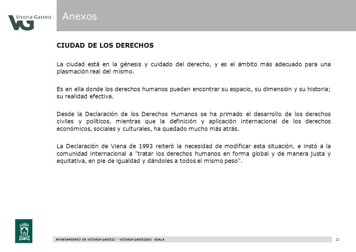 AYUNTAMIENTO DE VITORIA-GASTEIZ - VITORIA-GASTEIZKO UDALA 79 CIUDAD DE LOS DERECHOS La ciudad está en la génesis y cuidado del derecho, y es el ámbito
