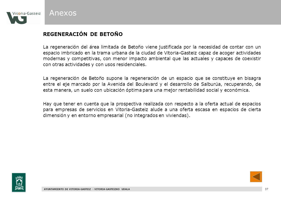 AYUNTAMIENTO DE VITORIA-GASTEIZ - VITORIA-GASTEIZKO UDALA 95 REGENERACIÓN DE BETOÑO La regeneración del área limitada de Betoño viene justificada por