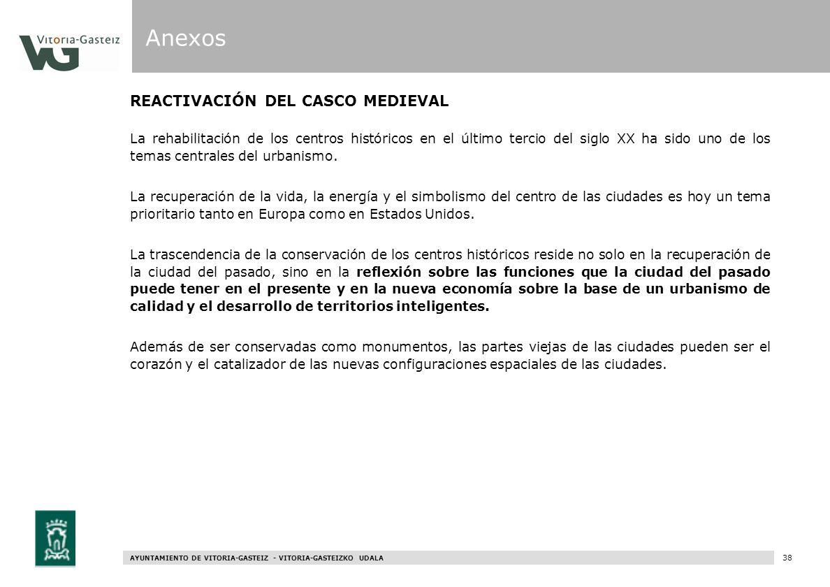AYUNTAMIENTO DE VITORIA-GASTEIZ - VITORIA-GASTEIZKO UDALA 96 REACTIVACIÓN DEL CASCO MEDIEVAL La rehabilitación de los centros históricos en el último