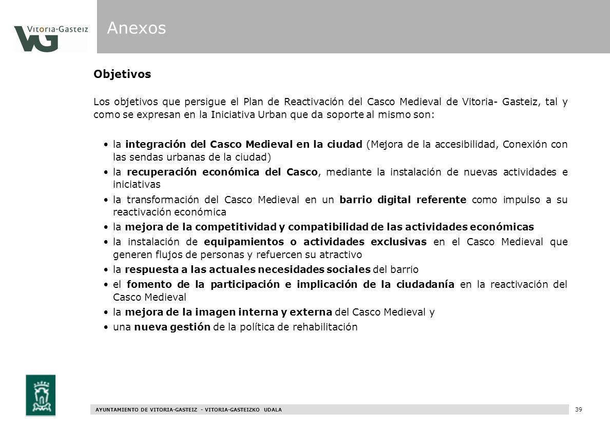 AYUNTAMIENTO DE VITORIA-GASTEIZ - VITORIA-GASTEIZKO UDALA 97 Objetivos Los objetivos que persigue el Plan de Reactivación del Casco Medieval de Vitori