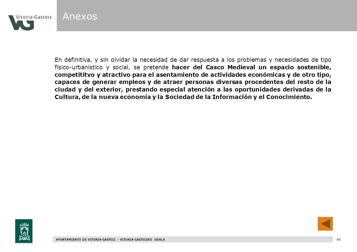 AYUNTAMIENTO DE VITORIA-GASTEIZ - VITORIA-GASTEIZKO UDALA 98 En definitiva, y sin olvidar la necesidad de dar respuesta a los problemas y necesidades