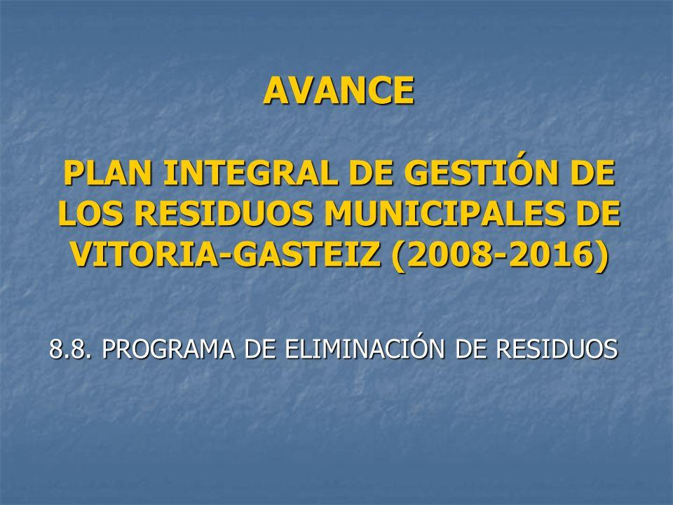 AVANCE PLAN INTEGRAL DE GESTIÓN DE LOS RESIDUOS MUNICIPALES DE VITORIA-GASTEIZ (2008-2016) 8.8. PROGRAMA DE ELIMINACIÓN DE RESIDUOS