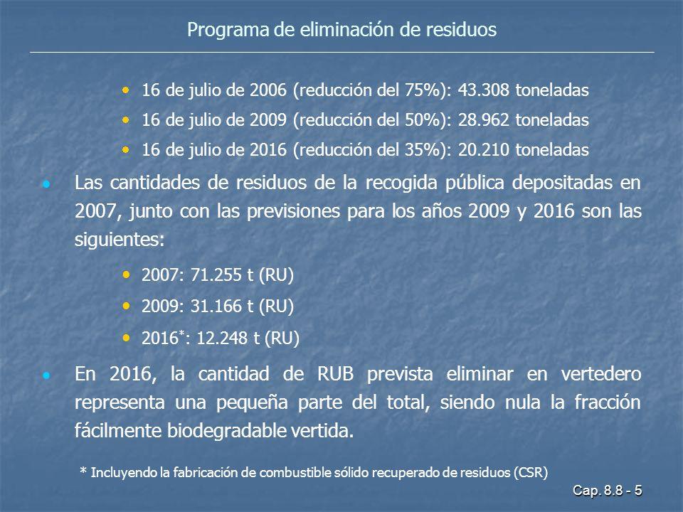 Cap. 8.8 - 5 Programa de eliminación de residuos 16 de julio de 2006 (reducción del 75%): 43.308 toneladas 16 de julio de 2009 (reducción del 50%): 28