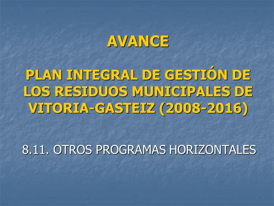 AVANCE PLAN INTEGRAL DE GESTIÓN DE LOS RESIDUOS MUNICIPALES DE VITORIA-GASTEIZ (2008-2016) 8.11.